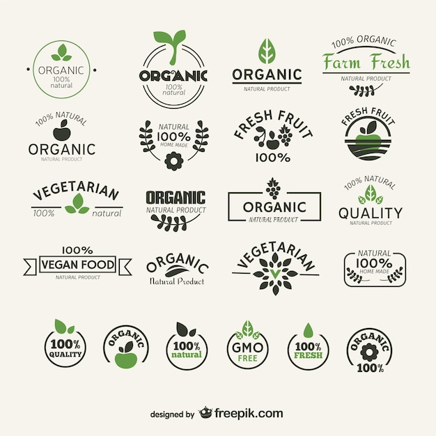 Organic and natural food labels collection Free Vector