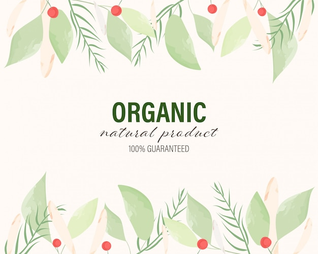 Organic and natural hand drawn painted watercolor leaves background Premium Vector