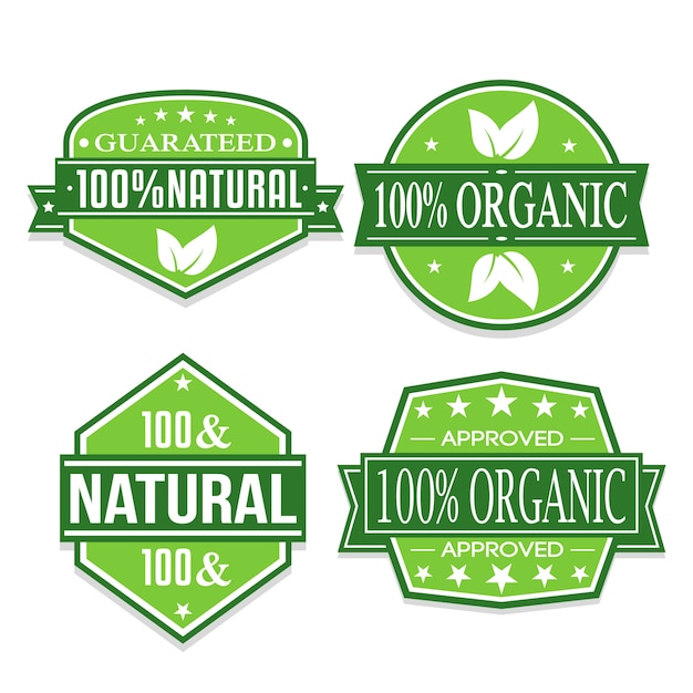 Organic and natural stickers. Premium Vector