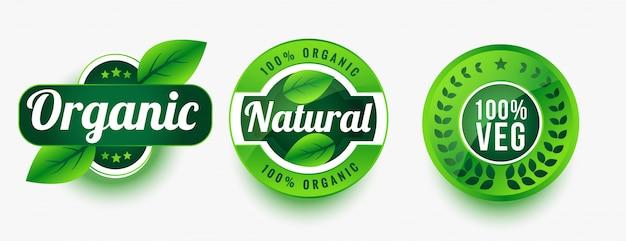 Organic natural veg product labels set Free Vector