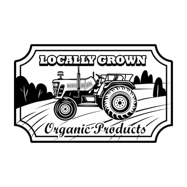 Органический продукт значок векторные иллюстрации. фермерский трактор, шестиугольная рамка, местный текст. концепция сельского хозяйства или агрономии для эмблем, марок, шаблонов этикеток Бесплатные векторы