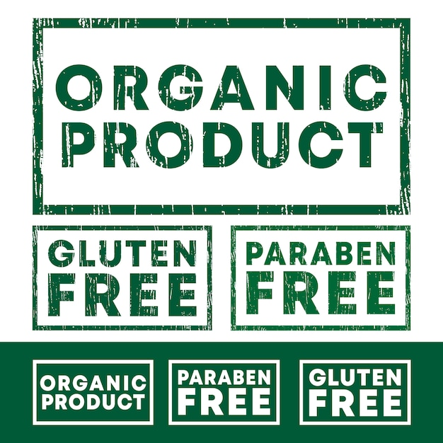 Organic product, gluten and paraben free stamps set Premium Vector