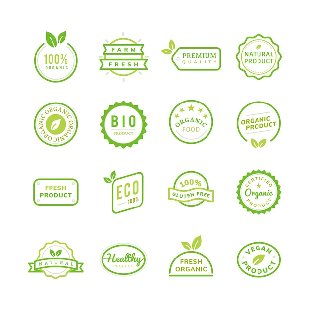 Organic product stamp emblems set illustration Free Vector