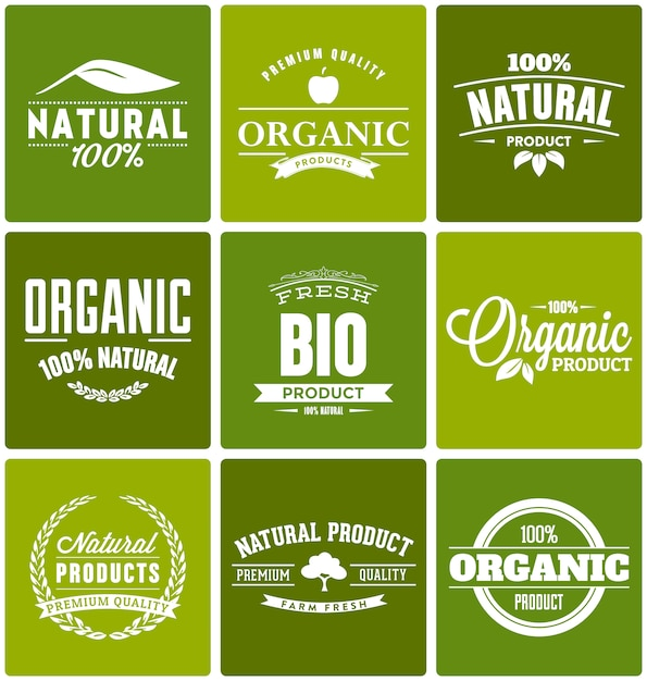 Organic products logo templates Free Vector
