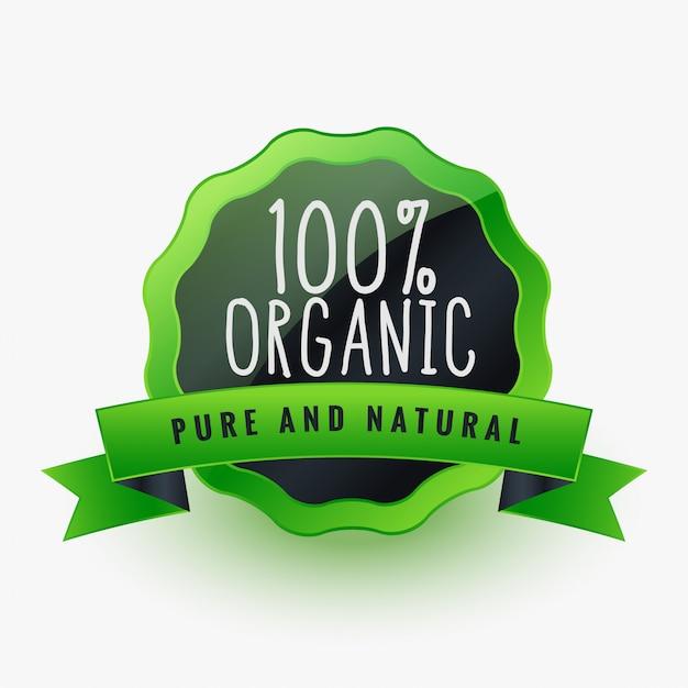 Органическая чистая и натуральная зеленая этикетка или наклейка Бесплатные векторы