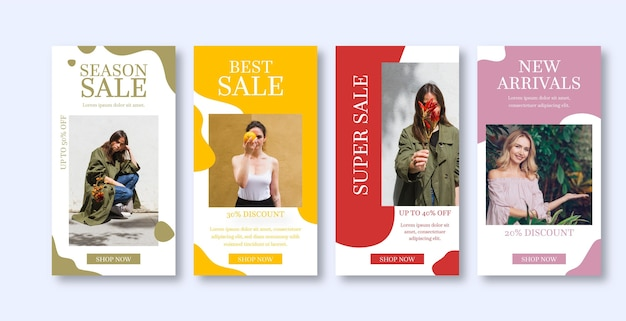 Organic sale instagram stories collection Free Vector
