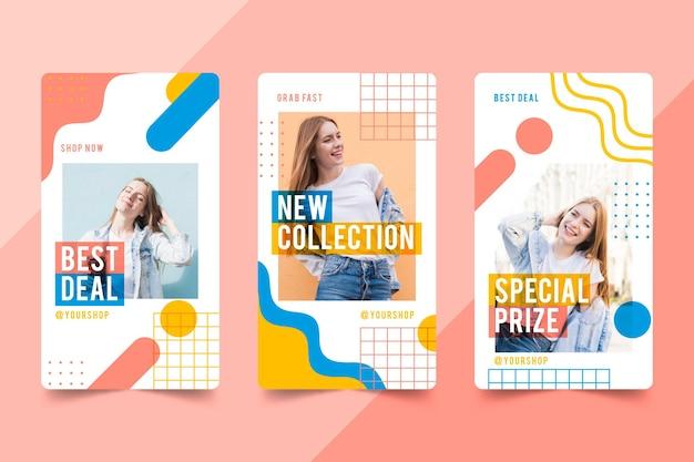 Organic sale instagram stories collection Premium Vector