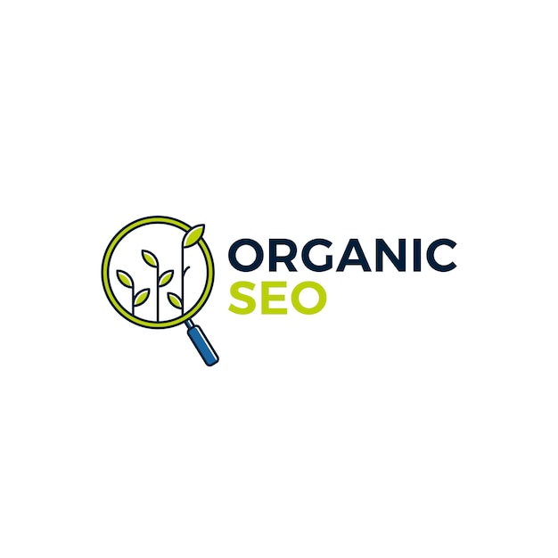 Organic seo sprout leaf search logo icon illustration Premium Vector