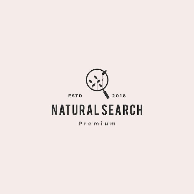 Organic seo sprout leaf search logo vector icon illustration Premium Vector