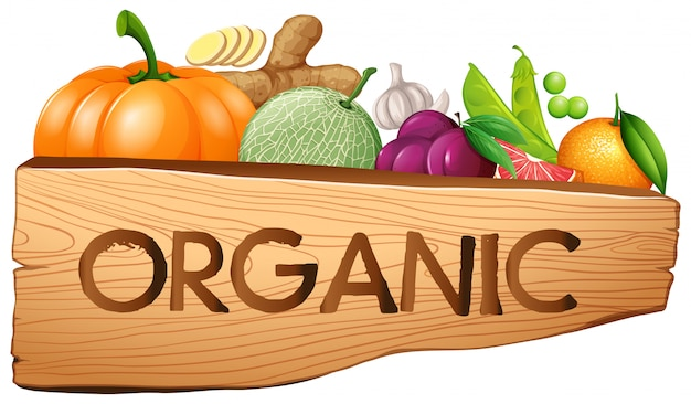 Organic sign with fruits and vegetables Free Vector
