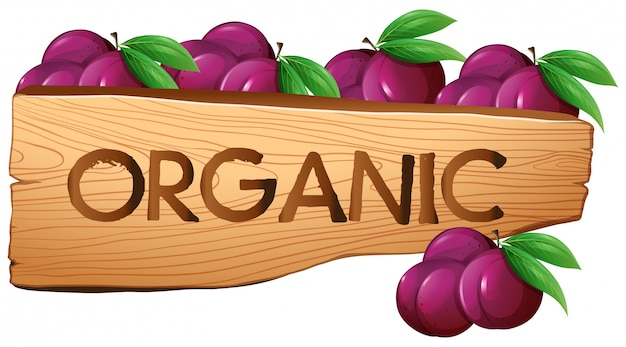 Organic sign with plums Free Vector