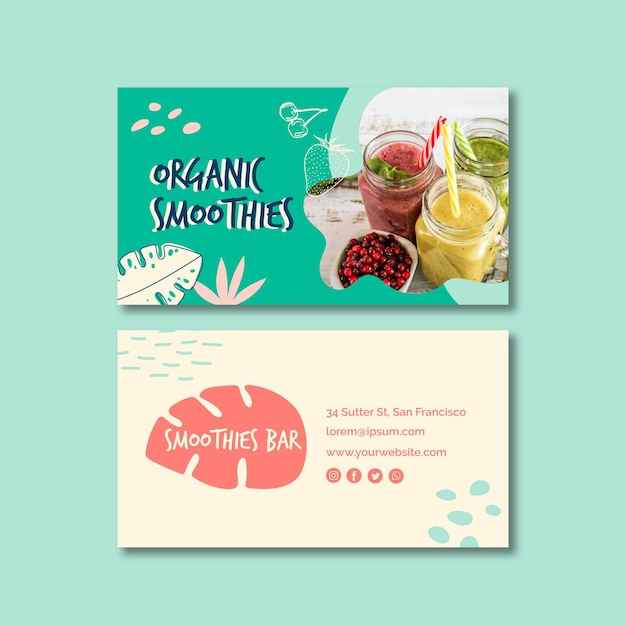 Organic smoothie double-sided business card Free Vector