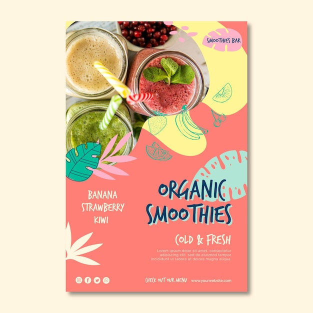 Organic smoothie natural detox poster template Free Vector