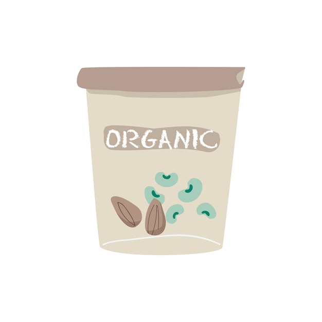 Organic soybean and almond yogurt vector Free Vector