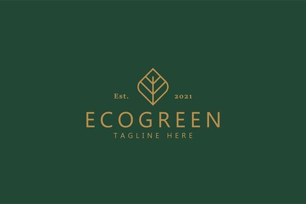 エコグリーンヴィンテージスタイルのロゴの概念の有機シンボル。バイオビジネスカンパニー。 Premiumベクター