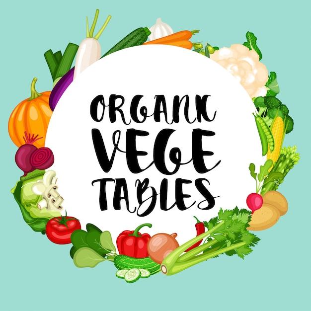 Organic vegetables banner with flat design vegetables background Premium Vector
