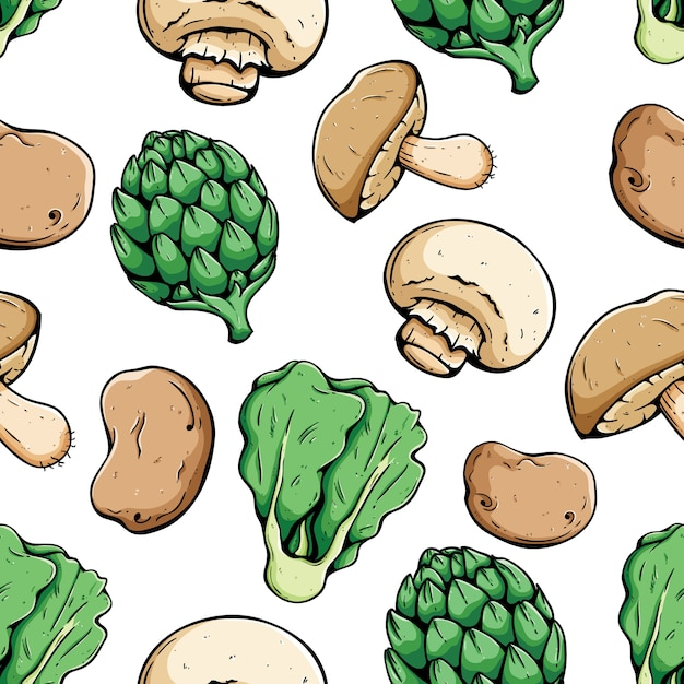 Organic vegetables food seamless pattern with colored sketch or hand drawn style Premium Vector