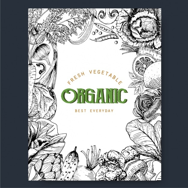 Organic vegetables frame Free Vector