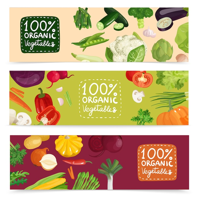 Organic vegetables horizontal banners Free Vector