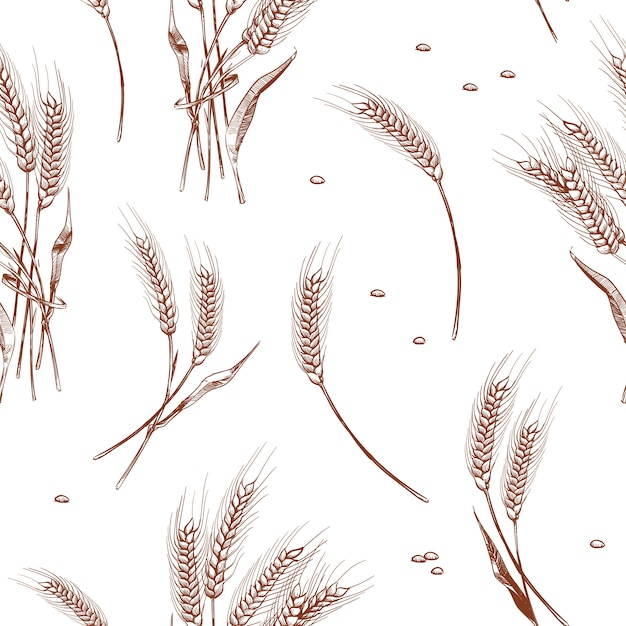 Organic wheat harvest, bakery seamless background. seamless pattern with wheat ears illustration Premium Vector