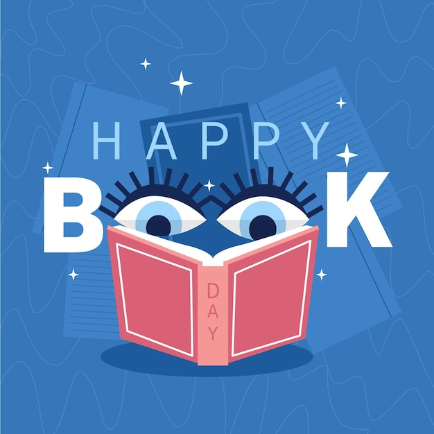 Organic world book day illustration with eyes reading book Free Vector