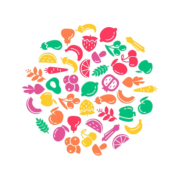 Organic world health day. Fruit and vegetables background illustration Free Vector