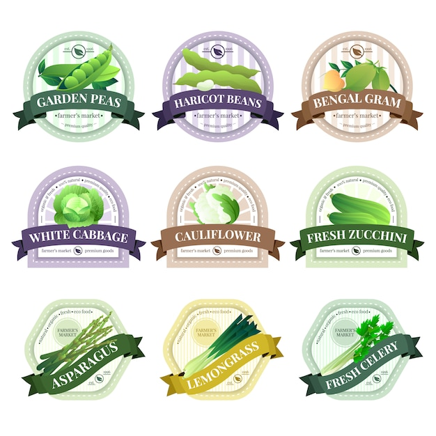 Organically grown vegetables labels set Free Vector