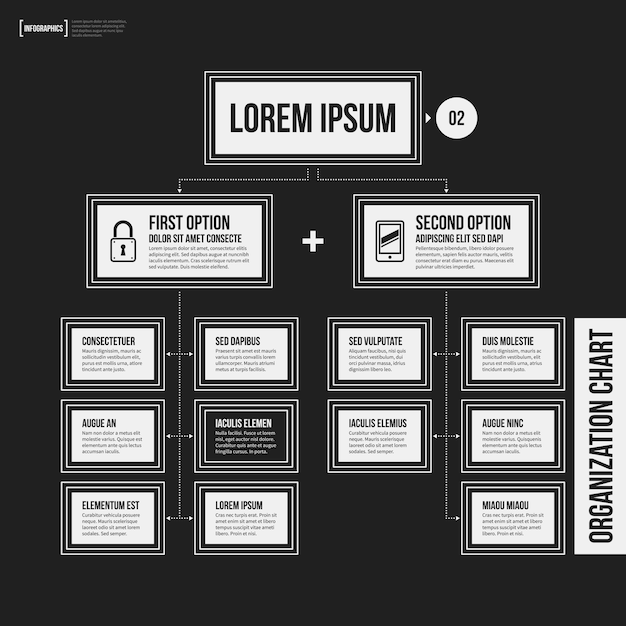Organization Chart Template With Geometric Elements On