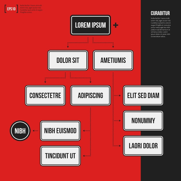 Organization chart template with geometric elements on bright red background. useful for science and business presentations. Premium Vector