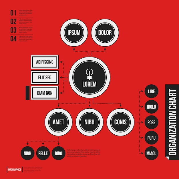 Organization chart template with geometric elements on bright red background Premium Vector