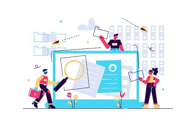 整理されたアーカイブ。データベース内のファイルを検索しています。記録管理、記録および情報管理、文書追跡システムのコンセプト。ピンクのコーラルブルー分離イラスト Premiumベクター