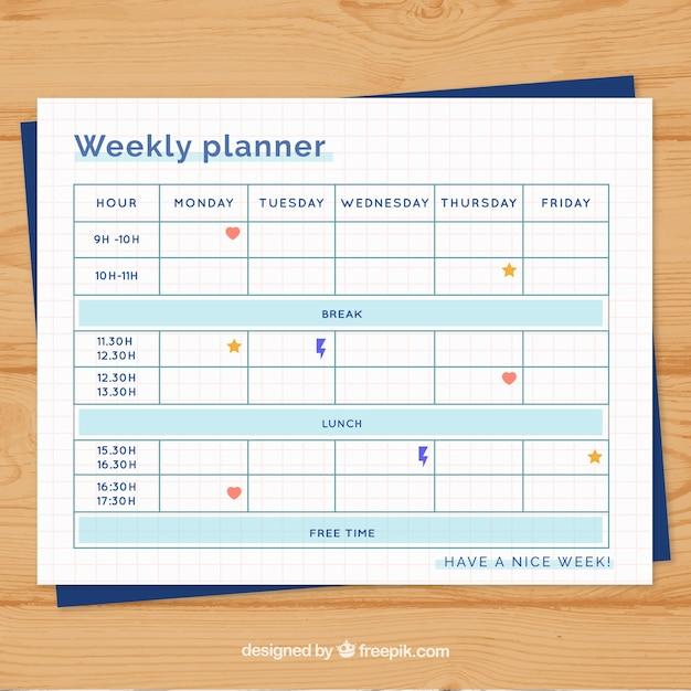 Organized weekly planner