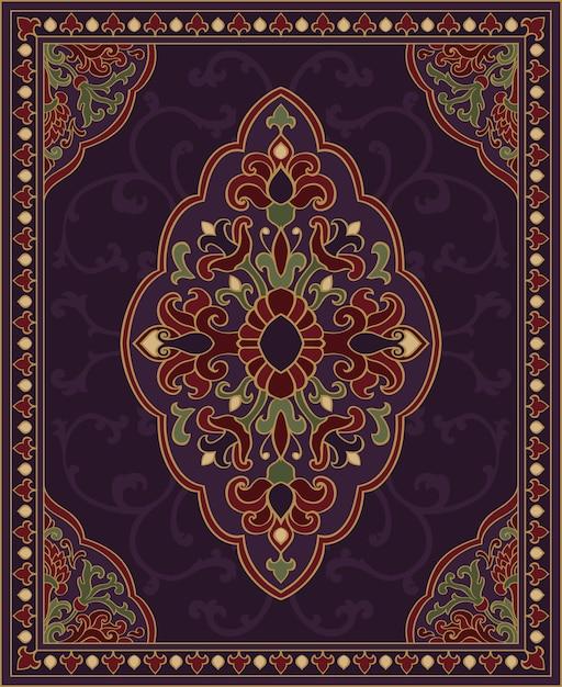Восточный абстрактный орнамент. красочный шаблон для ковра, покрова, шали, текстиля. орнаментальный красочный узор с филигранными деталями. Premium векторы