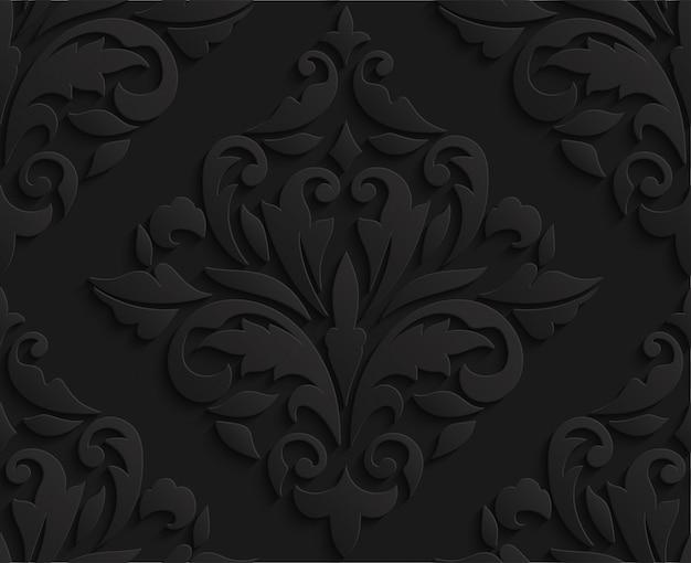 Oriental black 3d damask seamless pattern Premium Vector