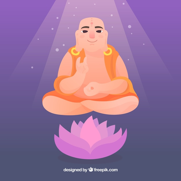 Oriental budha with flat design Free Vector