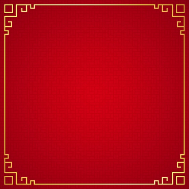 Oriental chinese border ornament on red background Premium Vector