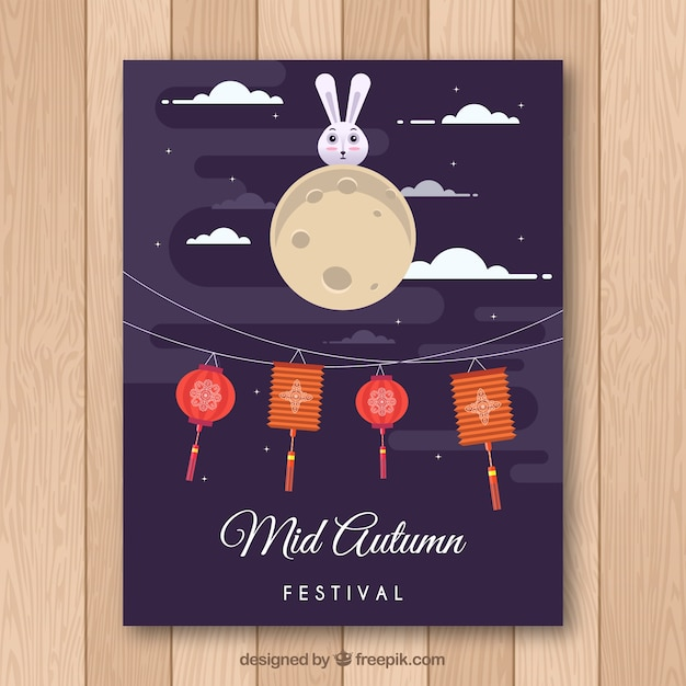 Oriental festival poster with flat design Vector | Free ...
