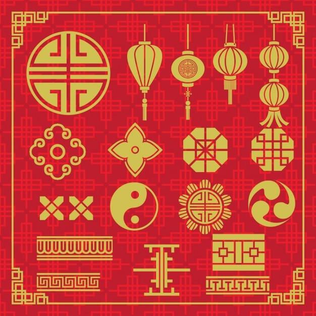 Oriental Icons Design Free Vector