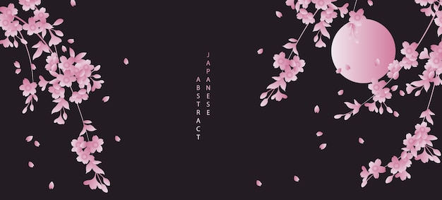 Oriental japanese style abstract pattern background design black night sky full moon and cherry blossom sakura flower Premium Vector