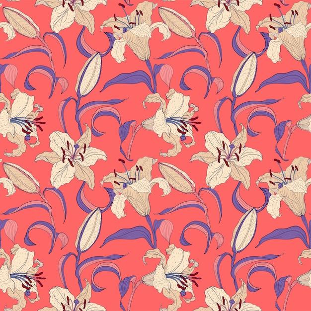 オリエンタルユリ花ピンクのシームレスパターン Premiumベクター