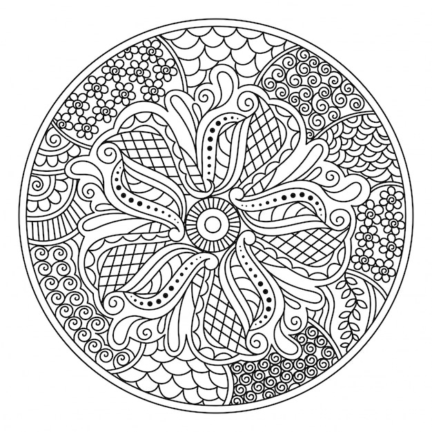 Oriental Mandala Design For Coloring Book Round Decorative Element With Floral Free Vector