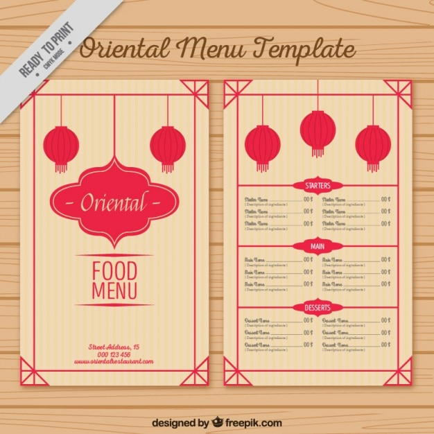 Oriental Menu Template With Lanterns Vector | Free Download