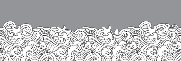 Oriental ocean wave seamless background. Premium Vector