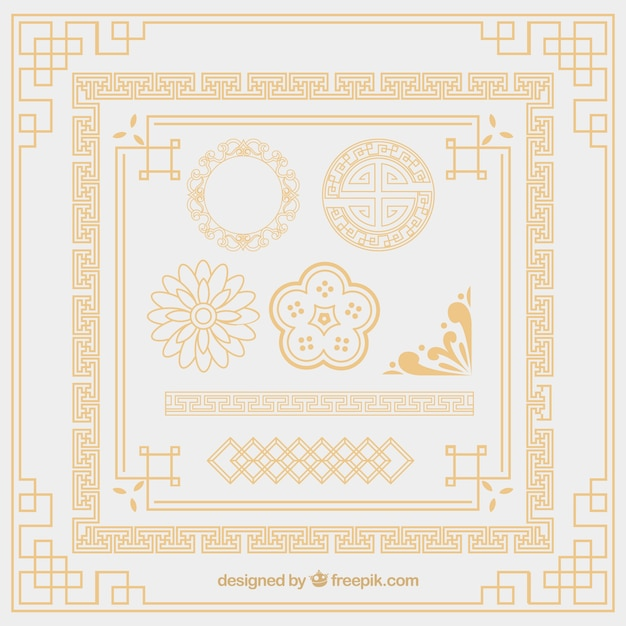 Oriental ornament elements Free Vector