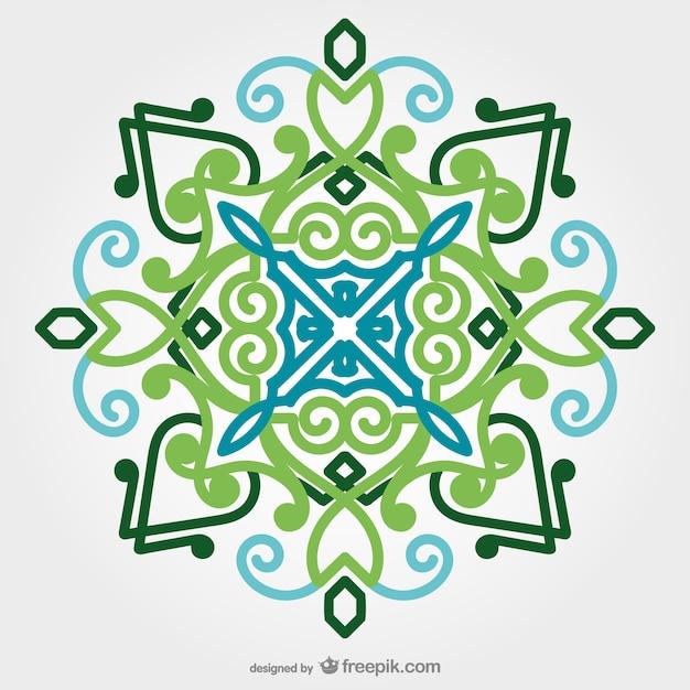 Oriental Ornament In Green Tones Free Vector