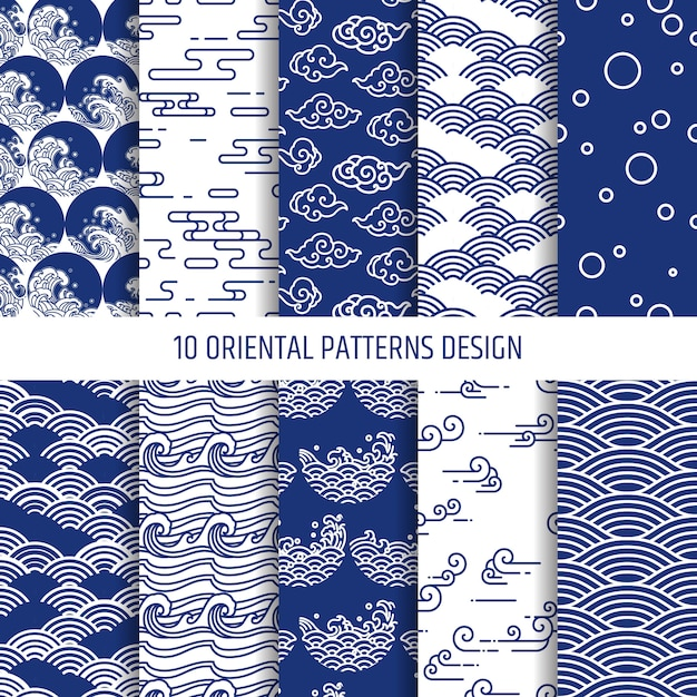 Oriental patterns illustration  set.editable. Premium Vector