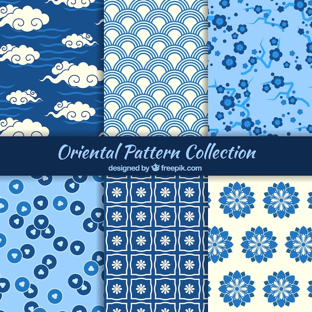 Oriental patterns in blue color Free Vector