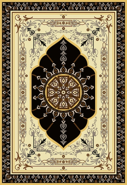 Oriental Persian Turkish Carpet Ready For Production Premium Vector