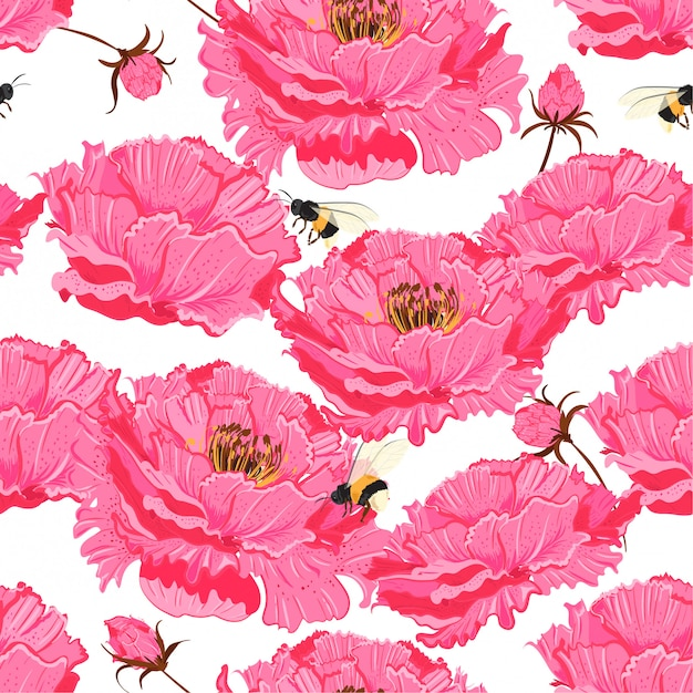 Oriental pink bloom vector seamless floral pattern. Premium Vector