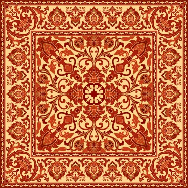 Oriental red carpet with pomegranate. Premium Vector